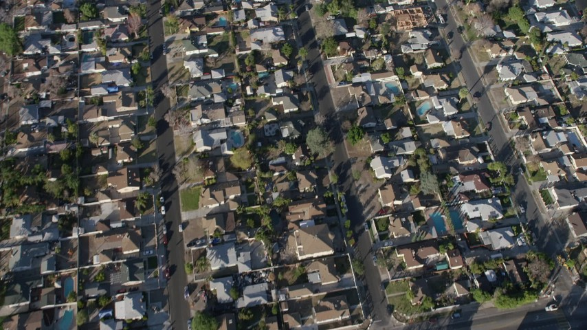 5K stock footage aerial video of a bird's eye view of suburban neighborhoods in Sun Valley, California Aerial Stock Footage | AX64_0033