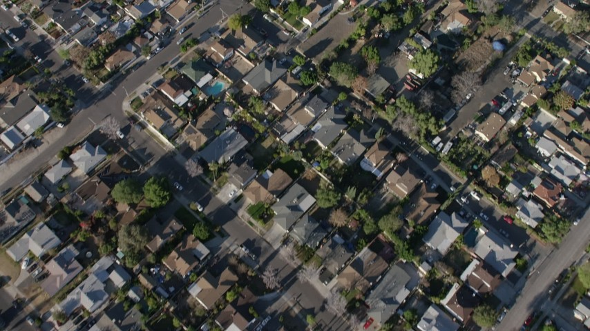 5K stock footage aerial video of bird's eye view of residential neighborhoods, Sun Valley, California Aerial Stock Footage | AX64_0037