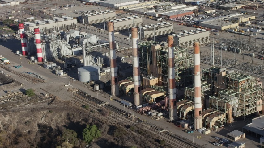 5K stock footage aerial video flyby smoke stacks at the LADWP Valley Generating Station in Sun Valley, California Aerial Stock Footage | AX64_0040