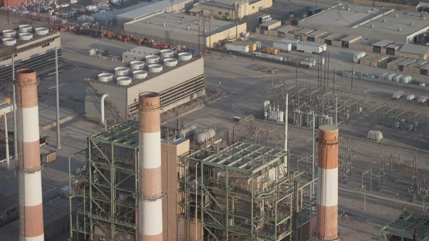 5K stock footage aerial video of LADWP Valley Generating Station smoke stacks and power plant buildings, Sun Valley, California Aerial Stock Footage AX64_0051 | Axiom Images