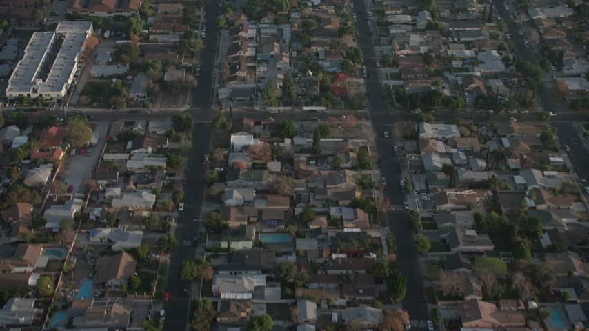 5K stock footage aerial video fly over suburban homes and streets, Sun Valley, California Aerial Stock Footage | AX64_0055