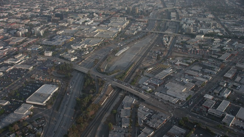 5K stock footage aerial video of Burbank Town Center, Interstate 5 and big box stores in Burbank, California Aerial Stock Footage | AX64_0062