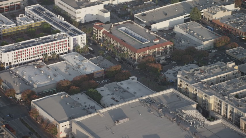 5K stock footage aerial video of office buildings, shops, and movie theater in Burbank, California Aerial Stock Footage | AX64_0063