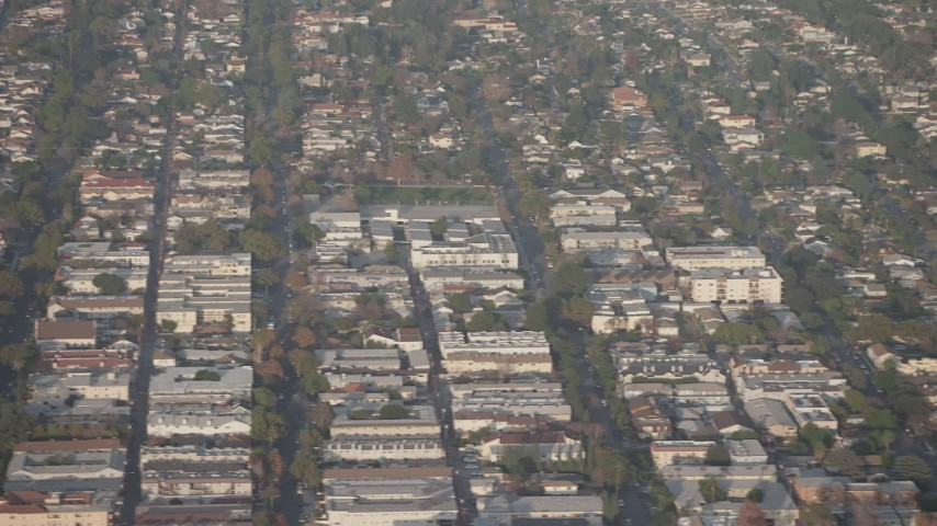 5K stock footage aerial video of apartment buildings and suburban homes in Glendale, California Aerial Stock Footage | AX64_0065