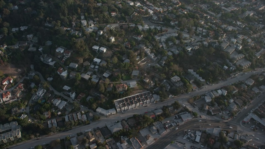 5K stock footage aerial video of homes on hills in Silver Lake, California Aerial Stock Footage | AX64_0074