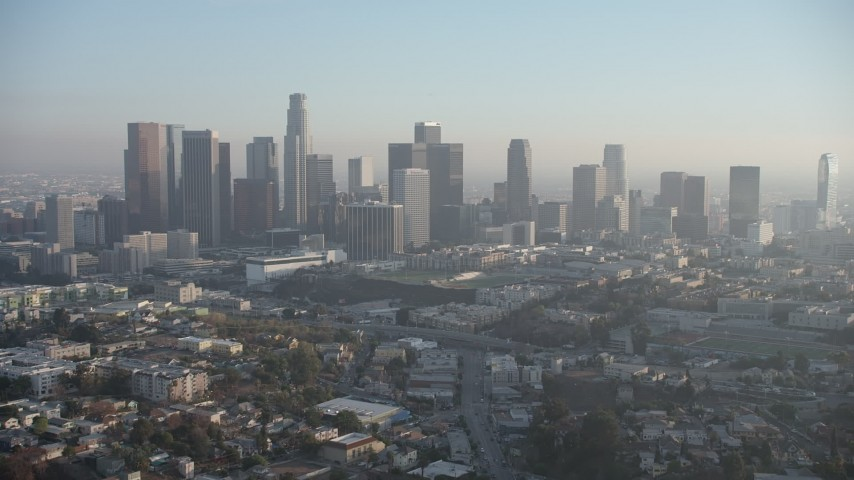 5K stock footage aerial video of a slow approach to the Downtown Los Angeles skyline, California Aerial Stock Footage | AX64_0083