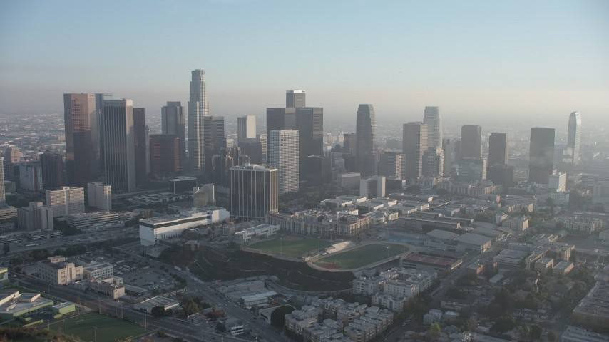5K aerial video of approaching Downtown Los Angeles skyscrapers, California Aerial Stock Footage | AX64_0084
