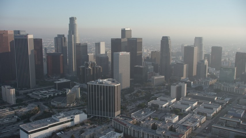 5K aerial video of Downtown Los Angeles skyscrapers and Westin Bonaventure Hotel, California Aerial Stock Footage | AX64_0085