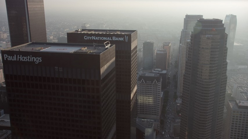 5K stock footage aerial video of flying by Downtown Los Angeles skyscrapers, California Aerial Stock Footage | AX64_0087