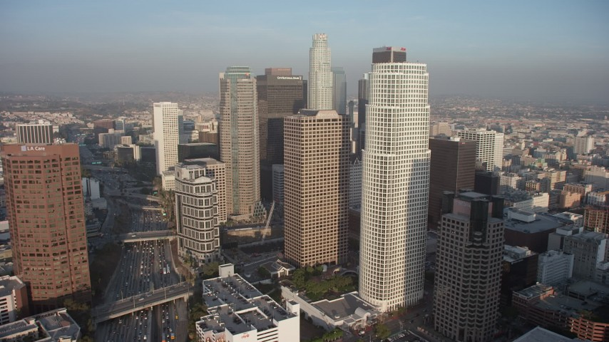 5K stock footage aerial video approach tall skyscrapers in Downtown Los Angeles, California Aerial Stock Footage | AX64_0093