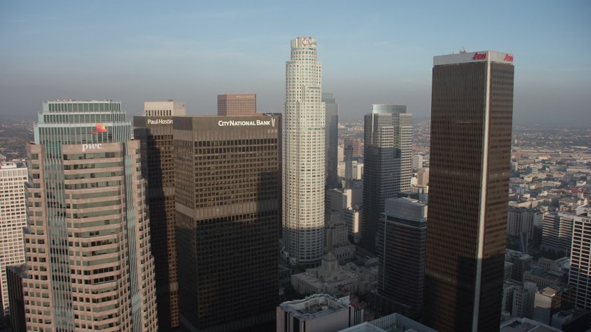 5K stock footage aerial video of US Bank Tower and Downtown Los Angeles skyscrapers, California Aerial Stock Footage | AX64_0094