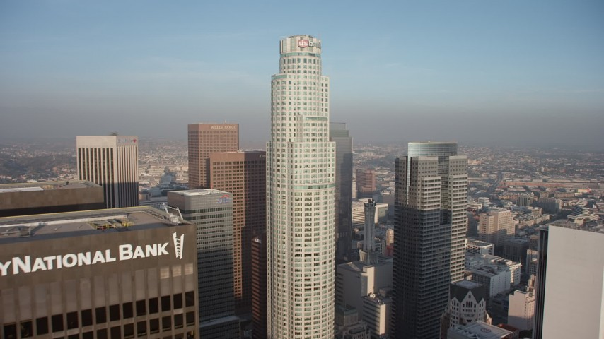 5K stock footage aerial video approach US Bank Tower in Downtown Los Angeles, California Aerial Stock Footage | AX64_0095