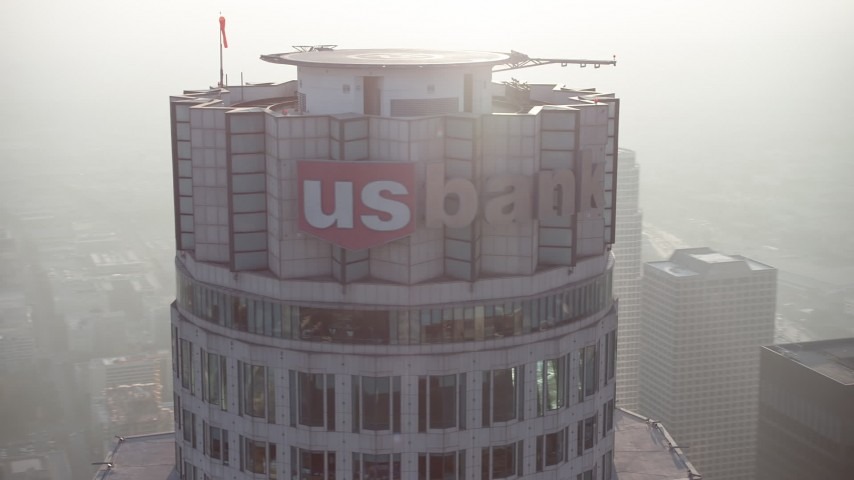 5K stock footage aerial video orbit the top of the US Bank Tower, Downtown Los Angeles, California Aerial Stock Footage | AX64_0102