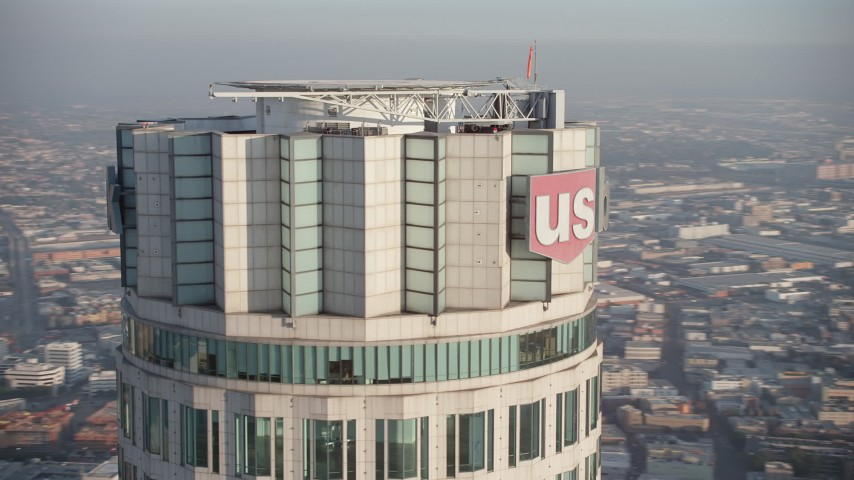 5K stock footage aerial video of orbiting top of the US Bank Tower, Downtown Los Angeles, California Aerial Stock Footage | AX64_0103