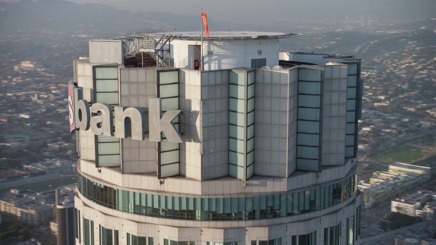 5K stock footage aerial video of orbiting top of the US Bank Tower skyscraper, Downtown Los Angeles, California Aerial Stock Footage | AX64_0104