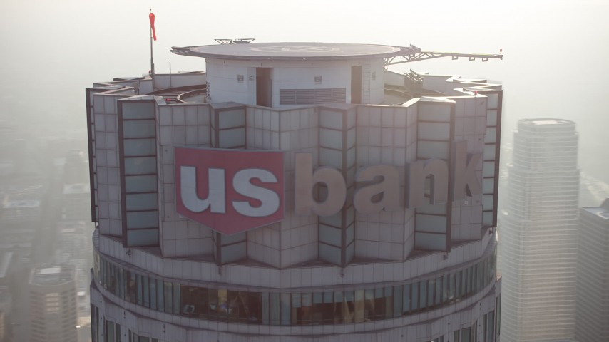 5K stock footage aerial video of an orbit of the top of the US Bank Tower, Downtown Los Angeles, California Aerial Stock Footage | AX64_0105