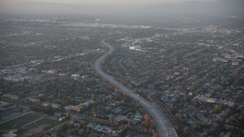 5K stock footage aerial video of Highway 170 and North Hollywood suburbs, California, sunset Aerial Stock Footage | AX64_0129