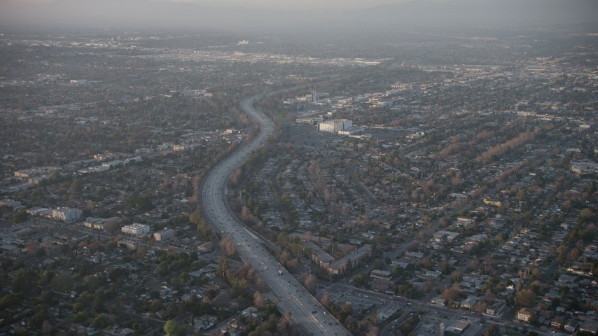 5K stock footage aerial video of following Highway 170 through North Hollywood suburbs, California, sunset Aerial Stock Footage | AX64_0130