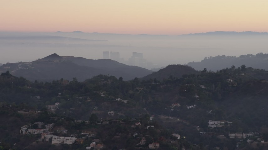 5K stock footage aerial video of Century City high-rises and Hollywood Hills mansions, California, twilight Aerial Stock Footage | AX64_0157