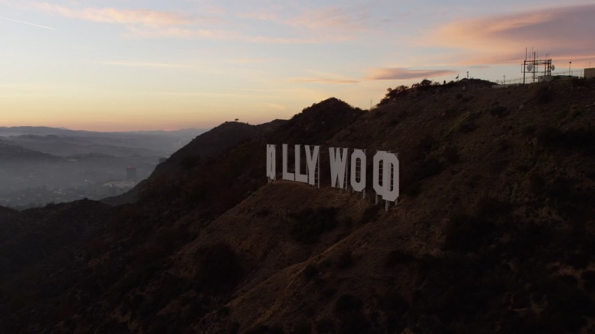 5K stock footage aerial video flyby the Hollywood Sign at twilight, Los Angeles, California Aerial Stock Footage | AX64_0167
