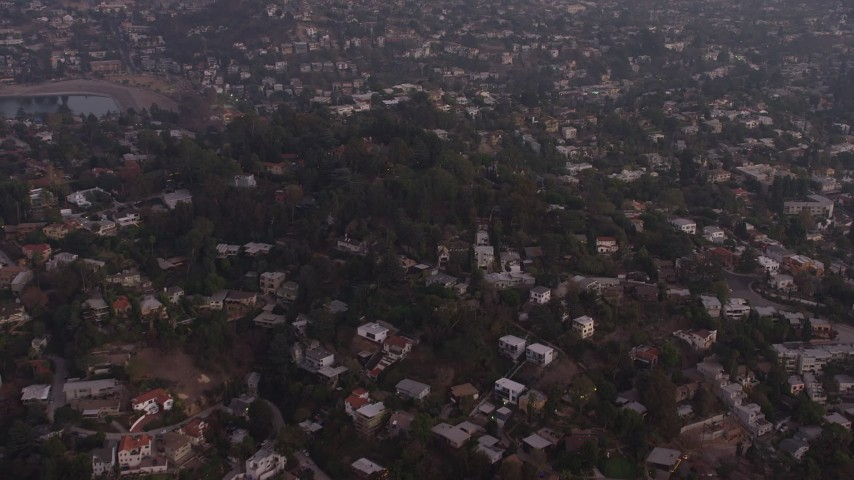 5K stock footage aerial video of hillside homes at twilight in Silver Lake, California Aerial Stock Footage | AX64_0177