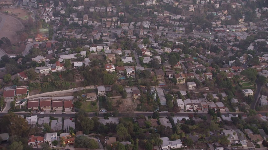 5K stock footage aerial video fly over hilltop homes in Silver Lake, California, twilight Aerial Stock Footage | AX64_0178
