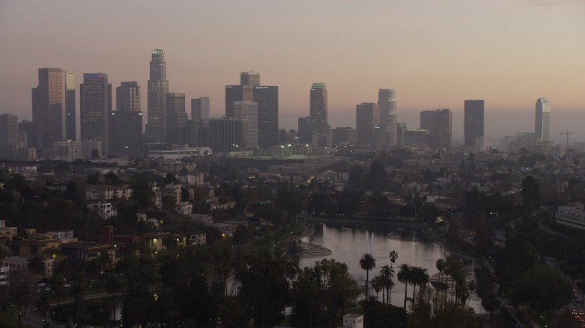 Los angeles in haze and echo lake at sunset california aerial downtown los angeles in haze and echo lake at sunset california aerial stock footage ax640182 sciox Gallery