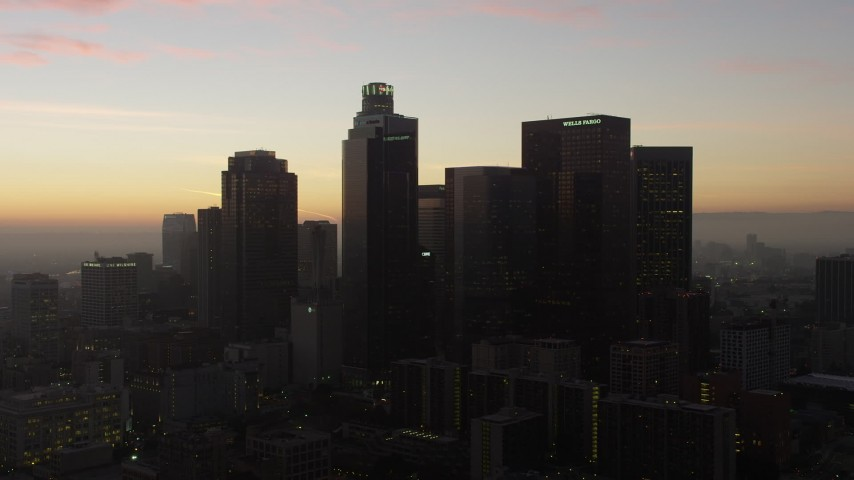 5K stock footage aerial video approach the Downtown Los Angeles skyline, California, twilight Aerial Stock Footage | AX64_0193