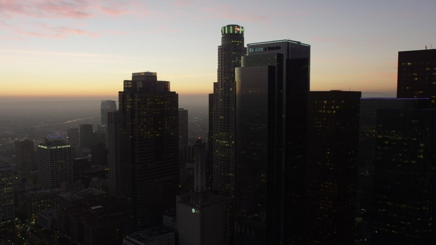 5K stock footage aerial video of Downtown Los Angeles' tall skyscrapers at twilight, California Aerial Stock Footage | AX64_0194