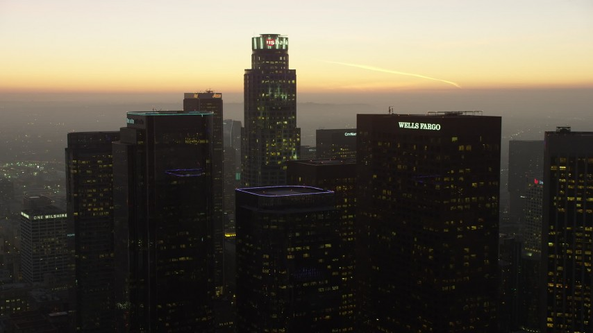5K aerial video of Downtown Los Angeles skyscrapers around US Bank Tower, California, twilight Aerial Stock Footage | AX64_0213