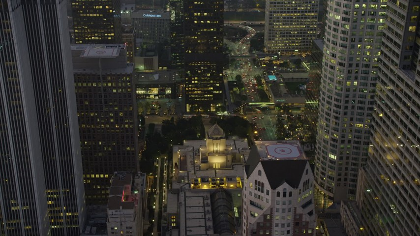 5K aerial video of Los Angeles Public Library in Downtown Los Angeles, California, twilight Aerial Stock Footage | AX64_0215
