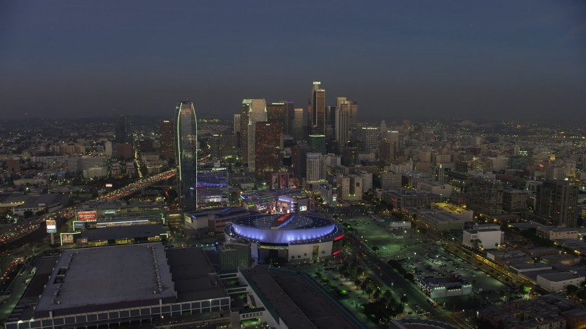 5K stock footage aerial video of Staples Center, Ritz-Carlton, and Downtown Los Angeles skyscrapers, California, twilight Aerial Stock Footage AX64_0221 | Axiom Images