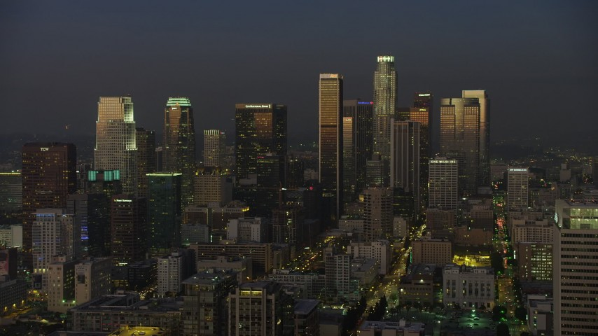 5K stock footage aerial video of Downtown Los Angeles skyscrapers reflecting the twilight, California Aerial Stock Footage | AX64_0227