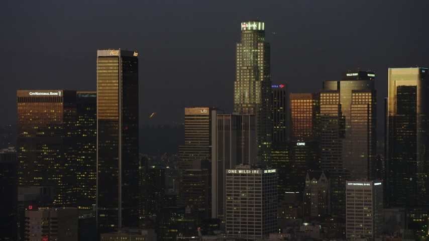 5K stock footage aerial video of skyscrapers at twilight in Downtown Los Angeles, California Aerial Stock Footage | AX64_0230