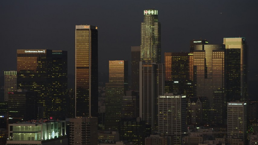 5K stock footage aerial video of skyscrapers in Downtown Los Angeles, California twilight Aerial Stock Footage | AX64_0231
