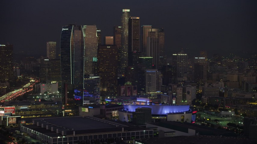 5K stock footage aerial video of Downtown Los Angeles hotels and skyscrapers, California, twilight Aerial Stock Footage | AX64_0237