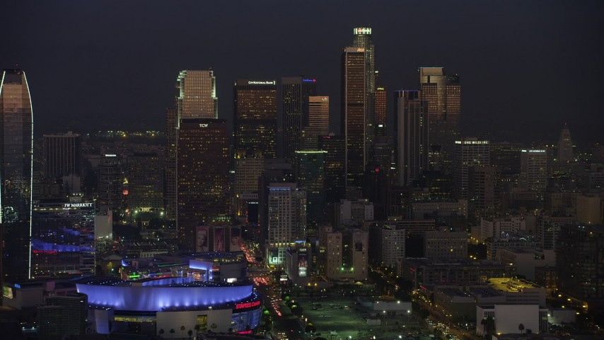 5K stock footage aerial video of tall skyscrapers in Downtown Los Angeles, California, twilight Aerial Stock Footage | AX64_0238