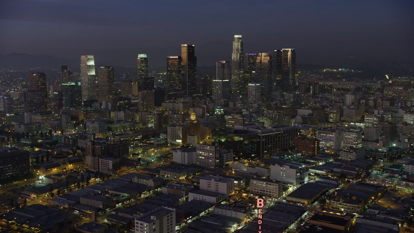 5K stock footage aerial video of Downtown Los Angeles office buildings and skyscrapers, California, twilight Aerial Stock Footage | AX64_0242