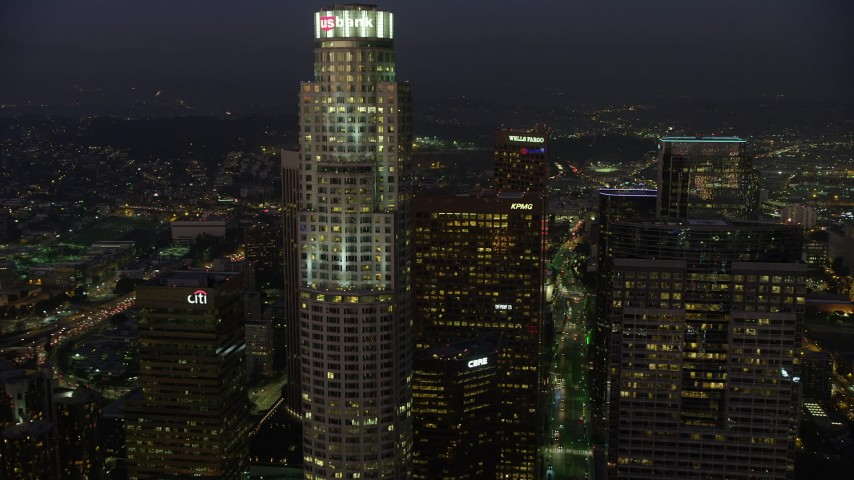 5K aerial video flyby US Bank Tower in Downtown Los Angeles, California, twilight Aerial Stock Footage | AX64_0249
