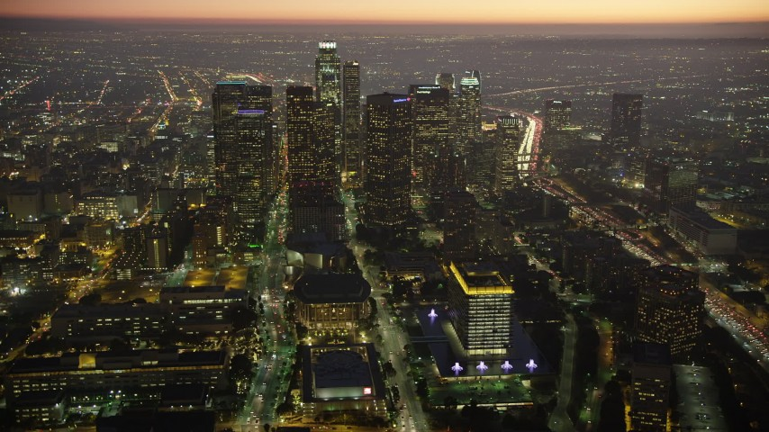 5K stock footage aerial video of concert halls and Downtown Los Angeles skyscrapers, California, twilight Aerial Stock Footage | AX64_0265