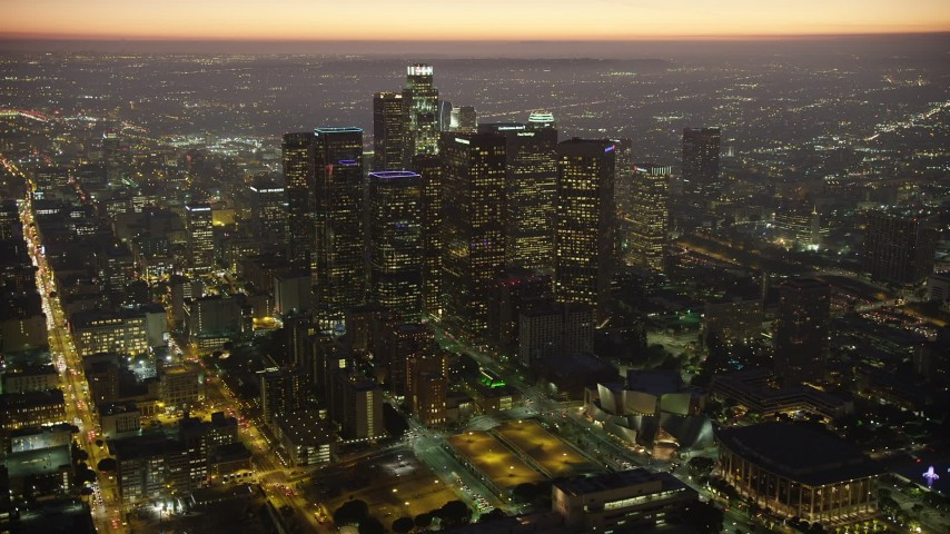 5K stock footage aerial video of Downtown Los Angeles high-rises and skyscrapers, California at twilight Aerial Stock Footage | AX64_0266