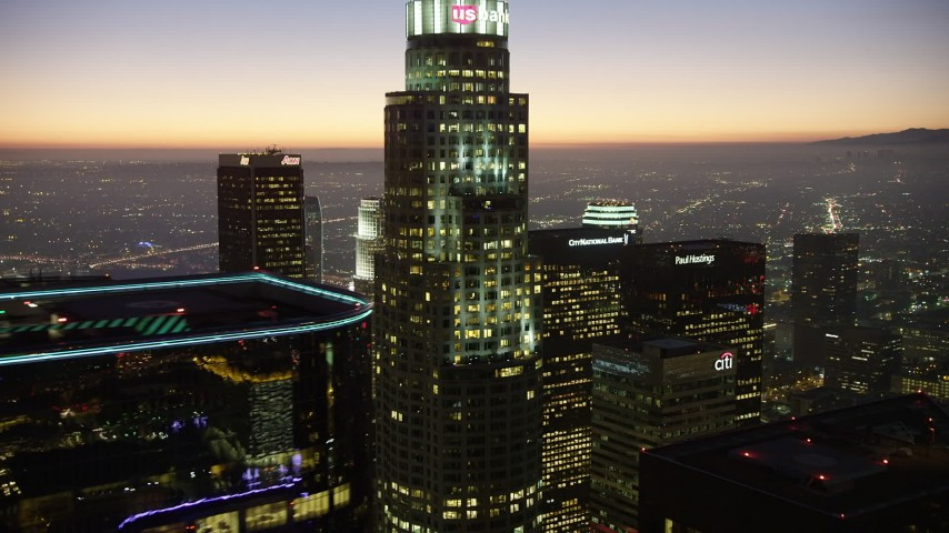 5K stock footage aerial video of US Bank Tower and Downtown Los Angeles skyscrapers, California, twilight Aerial Stock Footage | AX64_0269