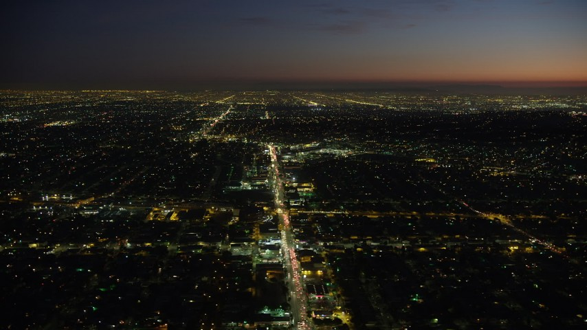 5K stock footage aerial video of West Adams neighborhood and Crenshaw Boulevard, Los Angeles, California, night Aerial Stock Footage | AX64_0280