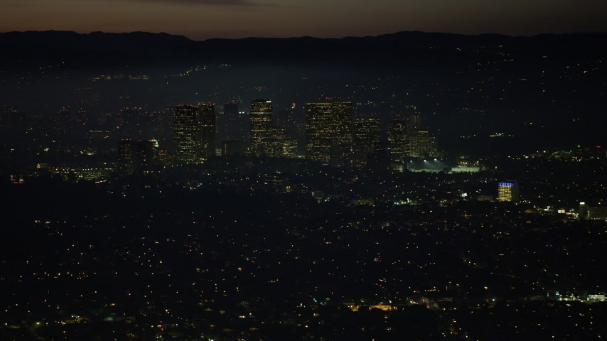 5K stock footage aerial video flyby Century City skyscrapers, Los Angeles, California, night Aerial Stock Footage | AX64_0283