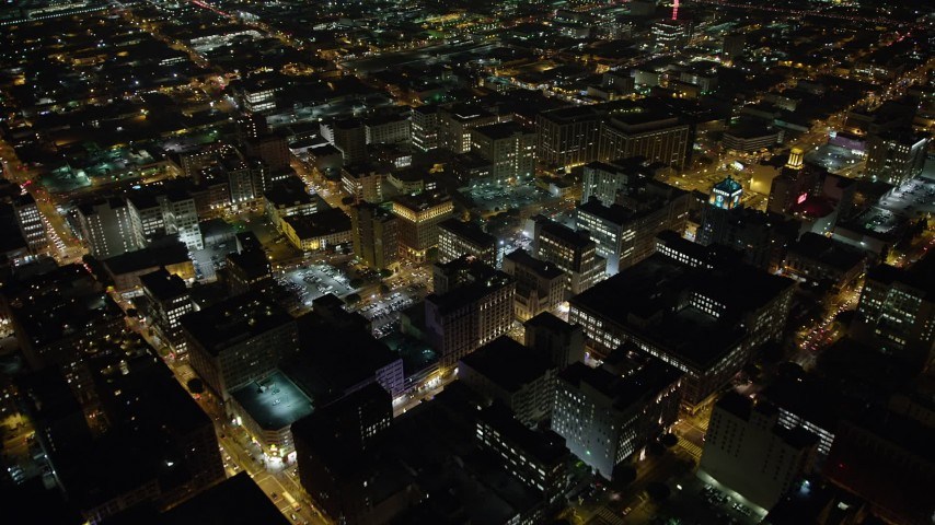 5K stock footage aerial video fly over Downtown Los Angeles office buildings, California, night Aerial Stock Footage | AX64_0359