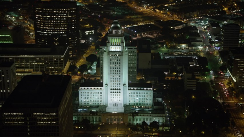 5K stock footage aerial video of Los Angeles City Hall at night, Downtown Los Angeles, California Aerial Stock Footage | AX64_0368