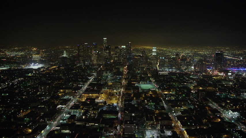 5K stock footage aerial video of Downtown Los Angeles high-rises at night in California Aerial Stock Footage | AX64_0378