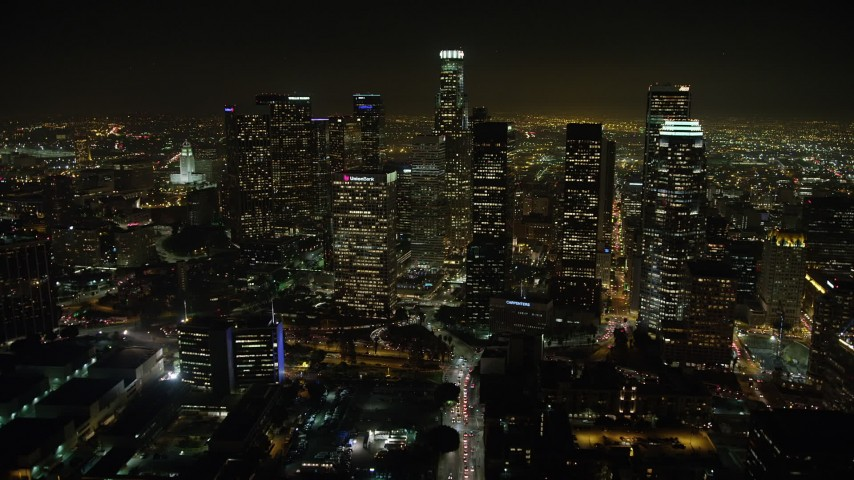 5K stock footage aerial video approach US Bank Tower and Downtown Los Angeles skyscrapers, California, night Aerial Stock Footage | AX64_0381