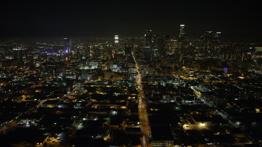 5K aerial video of a view north at Downtown Los Angeles skyscrapers, California, night Aerial Stock Footage | AX64_0386