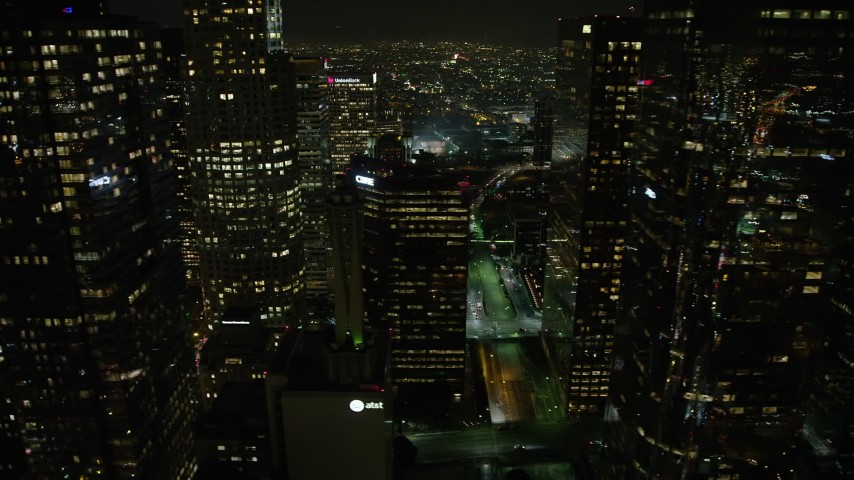 5K stock footage aerial video flyby a group of Downtown Los Angeles skyscrapers, California, night Aerial Stock Footage | AX64_0412